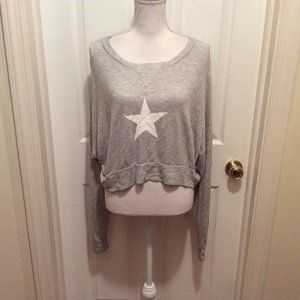 Wildfox Top S Light Gray Star Long Sleeve Cropped